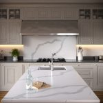 kitchen worktop with splash back in Calacata quartz